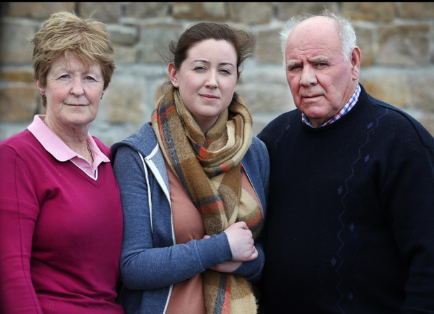 Orla Smith, sister of missing winch operator Ciaran, with her mother Teresa and father Michael
