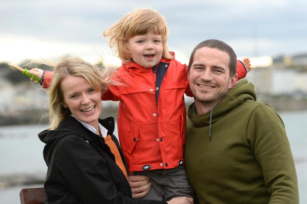 Susie, Paul and Patrick (3) Foley from Sandycove enjoying Easter Sunday in Dun Laoghaire