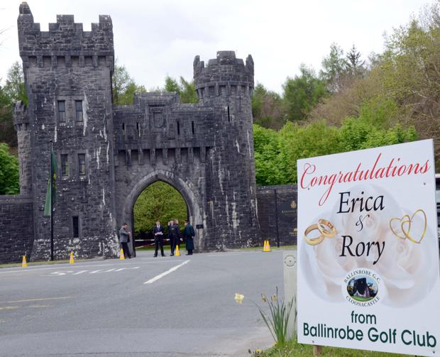 Security personnel on duty at the main entrance to Ashford Castle