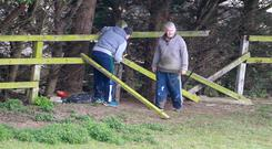John Gilligan removing gate at Jessbrook