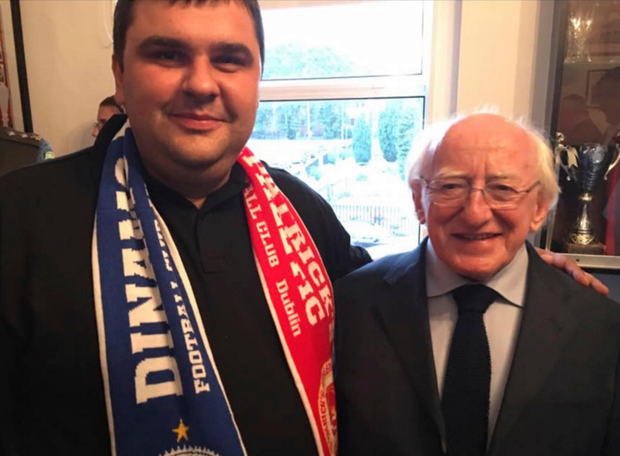 Janis Kapteinis pictured with President Michael D Higgins