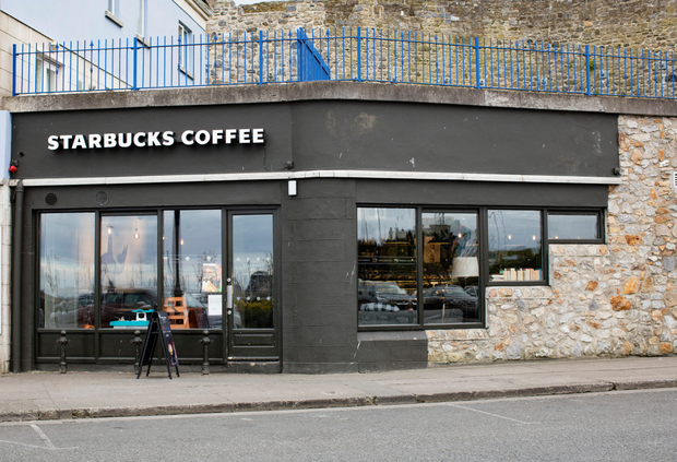 The Howth branch of Starbucks with the offending sign