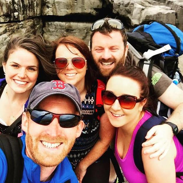 Grace (left) with pals Katie Kelleher, Paul Lowndes, Diarmuid O Conghaile and Jessie Dowling on Inis Mor last August