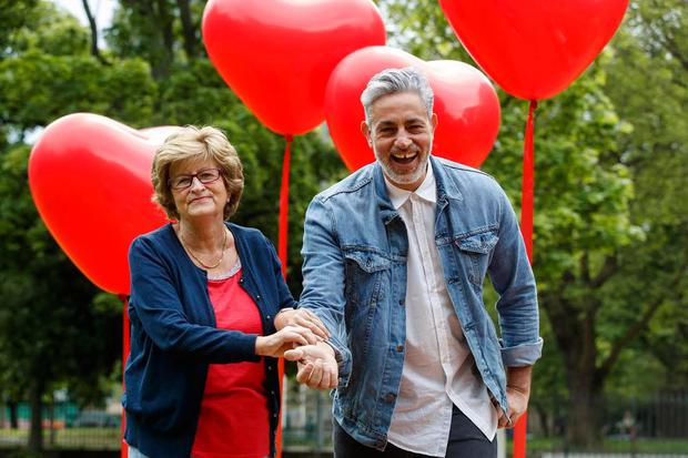 Baz gets pulse checked by mammy Nancy at Lloyd's launch