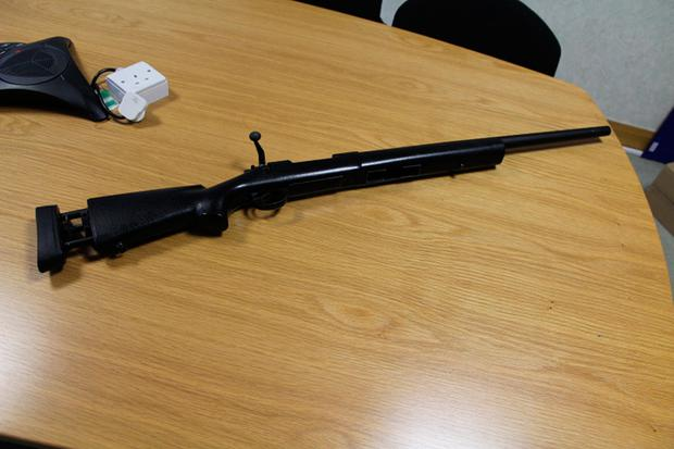 Photo issued by Garda of a pellet gun seized in raids on organised crime gangs.