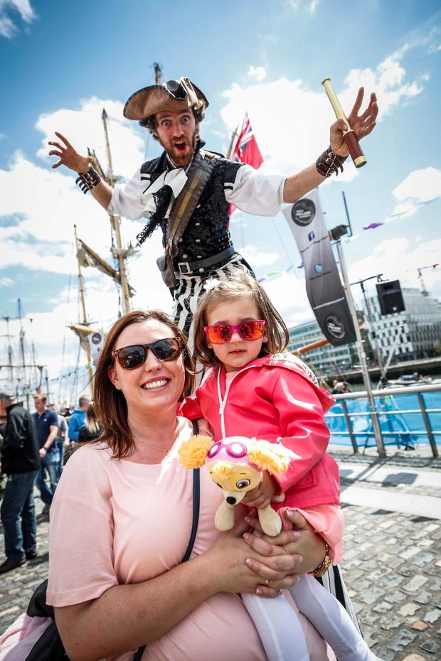 Edel Currie and her daughter Evie (2) enjoying Riverfest. Photo: Conor McCabe