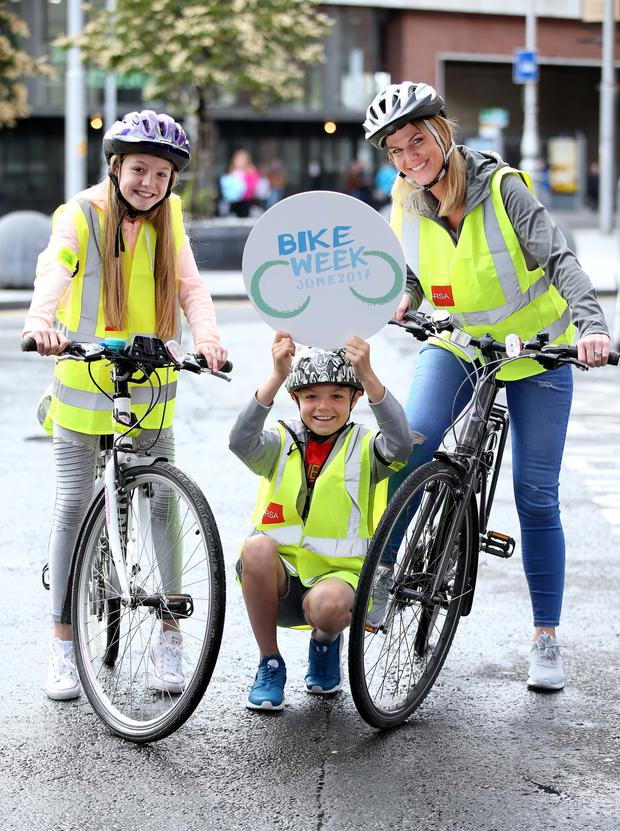 Roan (10) and Robyn (12) Dempsey and their mother Susan Dempsey, from Lucan, Co. Dublin pictured at the launch of the Road Safety Authority in association with the Irish Cycling Advocacy Network, Department of Transport Tourism and Sport and An Garda Siochana National Bike Week which takes place from Saturday 10th of June to June 18 inclusive