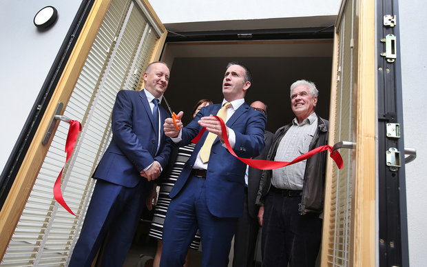 Pat Doyle, Damien English and Fr Peter McVerry were on hand to launch the new homes. Photo: Steve Humphreys