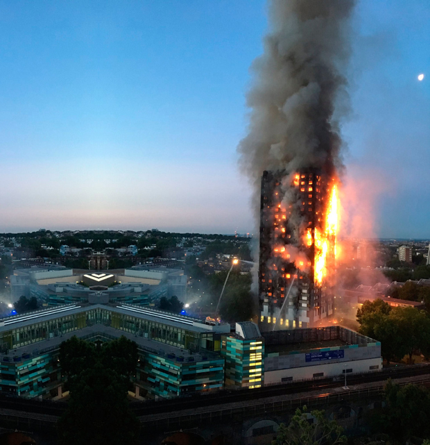 Grenfell Tower in flames