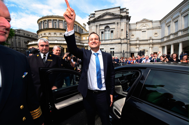 New Irish Taoiseach Leo Varadkar waves to TD's and well wishers at Leinster House after being elected as Taoiseach