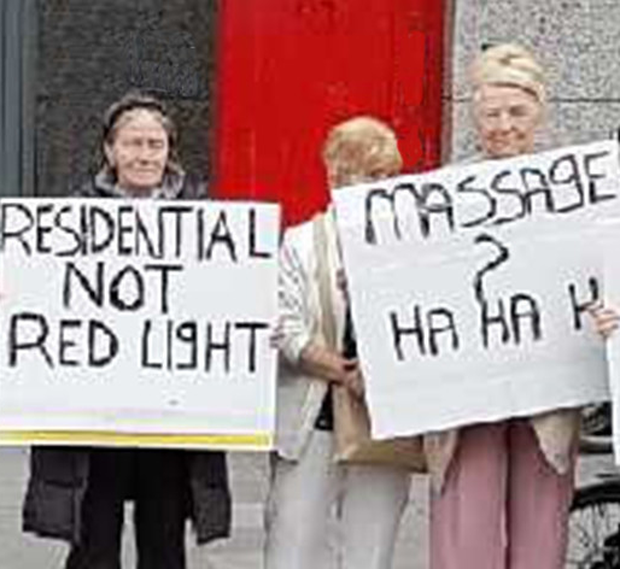Residents stage a protest