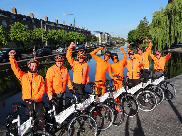 Riders at the launch of the BleeperBike stationless bike sharing service in the capital
