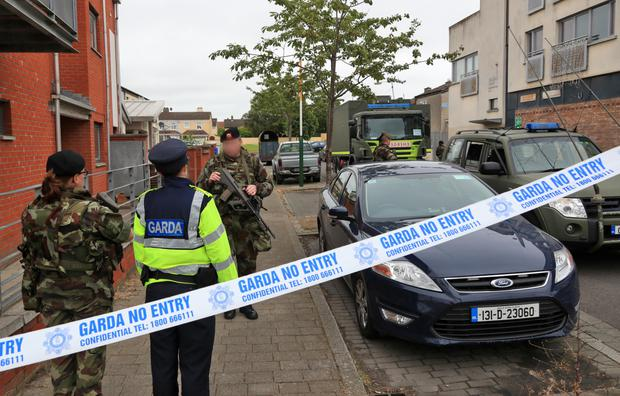 Gardai and the Army's EOD at the scene in Ballymun