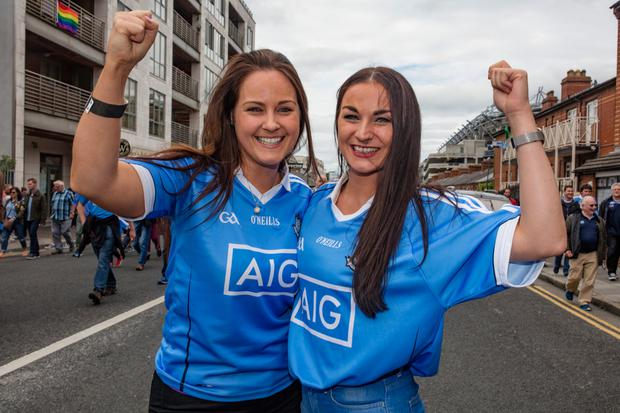 Jennifer and Niamh Dowling, after the match between Dublin and Westmeath at Croke Park. Picture: Arthur Carron