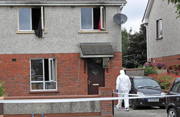 Gardai at the fire-hit house on the Canal Walk estate in Athy