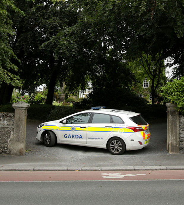 Gardai at the scene of the assault at Pollerton Castle, Carlow