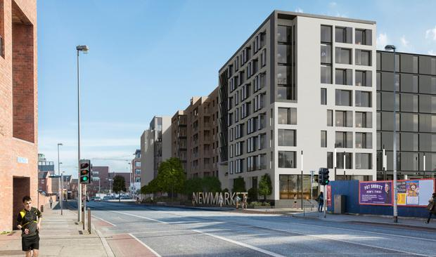 An artist's impression of the regeneration of Newmarket Square in the Liberties, which will include a hotel