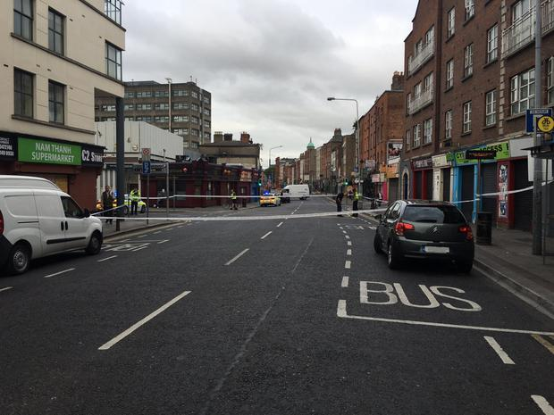 Gardai on Parnell Street, where Patrick Stokes was attacked