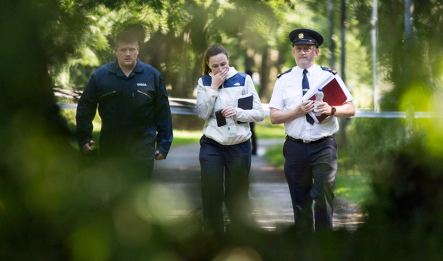 Gardai at the scene where the body of Linda Christian was discovered
