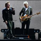 U2's Bono and Adam Clayton on stage at Croke Park .