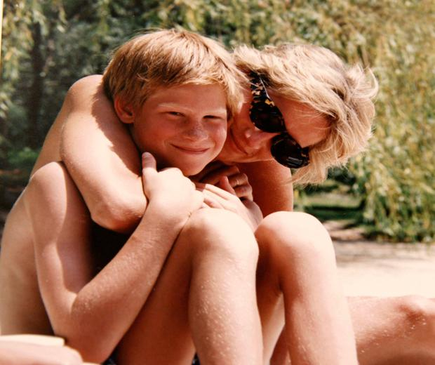 Diana, Princess of Wales and Prince Harry on holiday