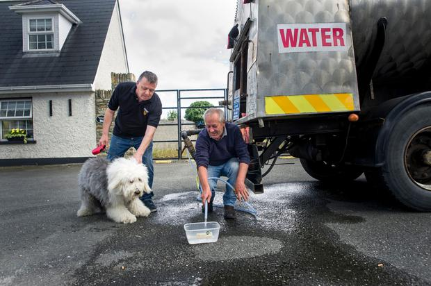 Sean Clinton brings his dog Bertie for a drink in Clogherhead, where Willie Molloy is manning the water tanker. Photo: Doug O'Connor