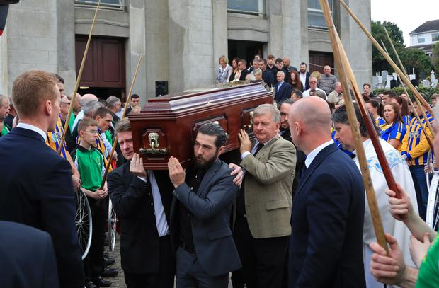 The remains of Dermot Byrne leave St Colmcille's Church in Swords. Photo: Collins
