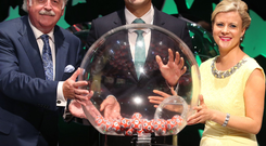 Taoiseach Leo Varadkar with presenters Marty Whelen and Nuala Carey at a special live mid-week Lotto draw in front of an invited audience to mark the National Lottery's 30th birthday last night