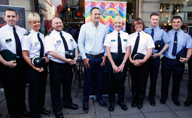 Taoiseach Leo Varadkar meets members of the PSNI and Garda representative of the Gay community as he arrives for a Gay Pride breakfast meeting at the Northern Whig bar in Belfast