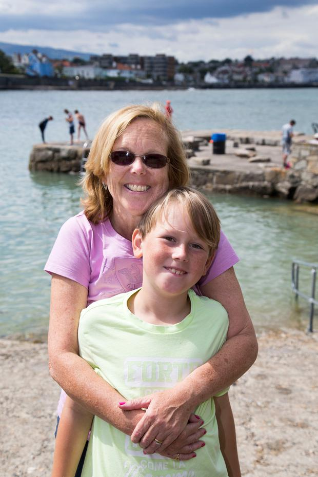 Laurie Berry and her son Luca at the Forty Foot in Sandycove
