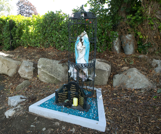 The vandalised memorial near the newly renovated halting site at Carrickmines. Photo: Kyran O'Brien