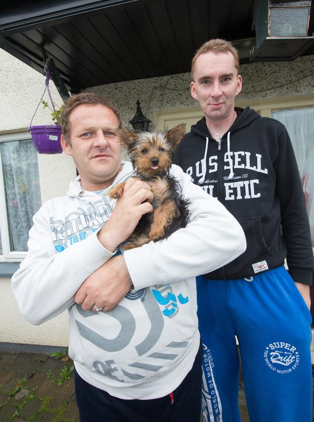 Kieran Keogh with his partner Andrew Price and dog Millie. Their other dog, a Chihuahua called Mousey was violently killed.