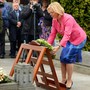 20 Aug 2017; Minister for Employment Affairs and Social Protection Regina Doherty, T.D. places a wreath at the grave of Michael Collins. Michael Collins and Arthur Griffith remembered at 95th annual Collins Griffith Commemoration at Glasnevin Cemetery, Dublin. Picture: Carolilne Quinn