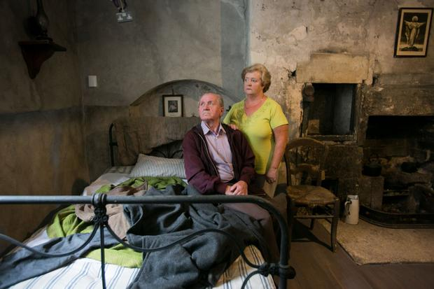 Former residents John Horrigan and Jane Lynch at the new Tenement Museum, which opens to the public in October. Photo: Collins