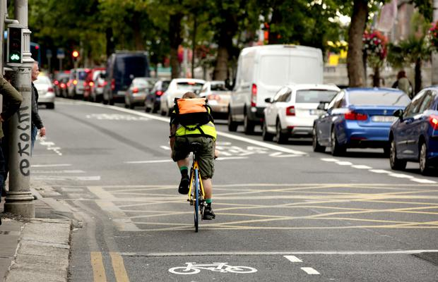 Cyclists enjoying a trouble-free passage up the Dublin city quays yesterday morning