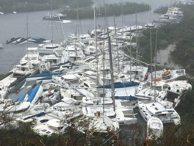 boats lie piled up on Tortola, the British Virgin Islands, after Hurricane Irma passed