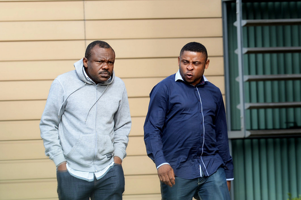 Udo Okike and Emmanuel Thomas leaving Blanchardstown District Court. Blanchardstown, Dublin.