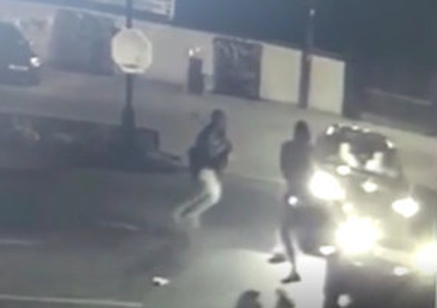 The raiders attacked the squad car before fleeing the scene