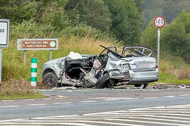 The wreckage of one of the cars involved in the fatal crash. Photo: John Delea