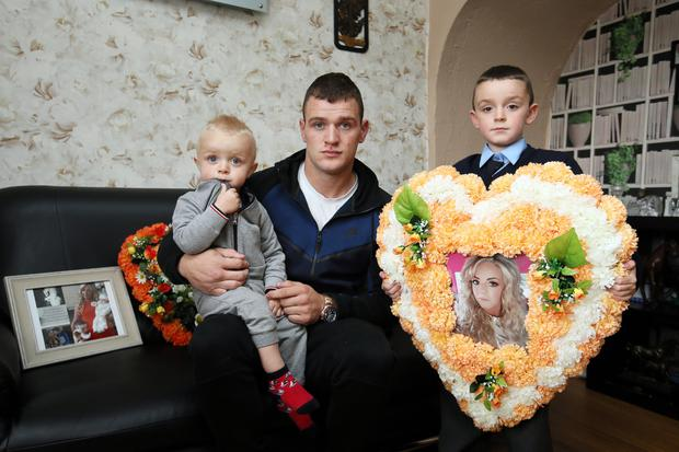 David Kelly, partner of tragic Danielle Carroll, with their children Carter and DJ