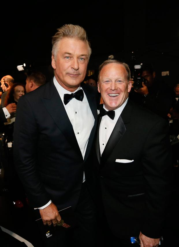 Emmy winner Alec Baldwin with Sean Spicer