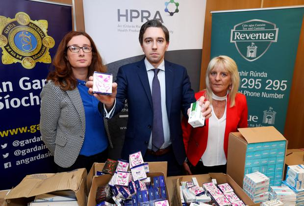 Ms Lorraine Nolan, Chief Executive, HPRA, Minister for Health, Simon Harris TD and Esther Keating, Revenue's Customs Service.
