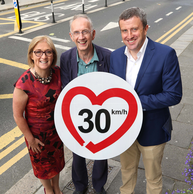 RSA chief Moyagh Murdock, Rod King of Britain's 20's Plenty campaign and Dermot Stevenson of DCC want a 30kph limit