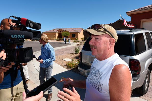 Neighbour Ron Sweningson speaks to media outside the home of Stephen Paddock