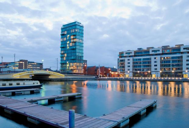 High rise at Grand Canal Dock.