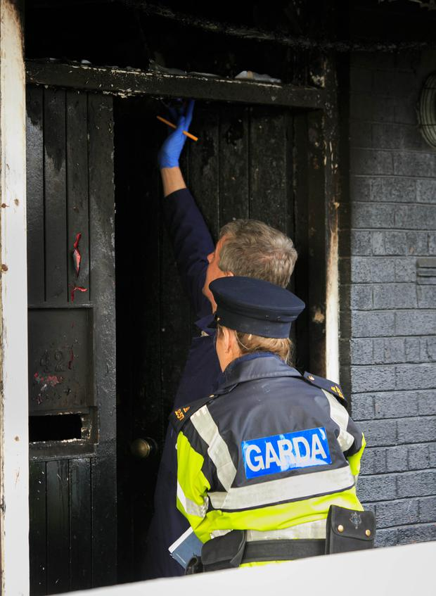The flat in Tyrone Place, Inchicore, where the arson attack took place