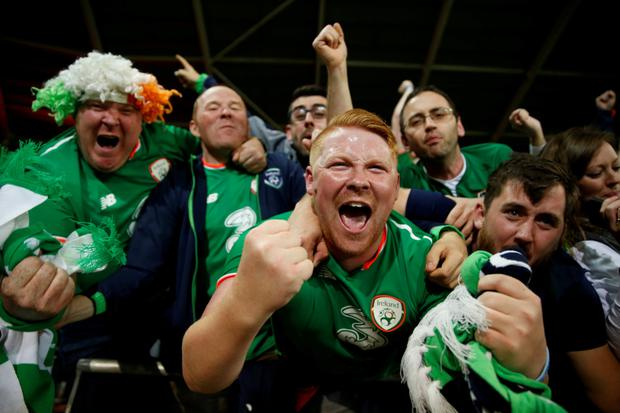 Fans celebrate Ireland's crucial win over Wales in Cardiff