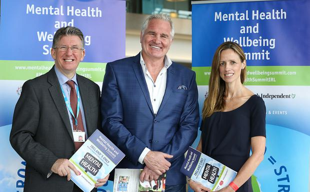 Brent Pope (centre) with Professor Jim Lucey and Ann McCormack at the Aviva Stadium