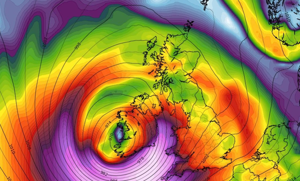 A weather map shows the potential path of Storm Brian