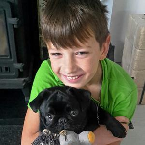 A delighted Nikita is reunited with pup Niki